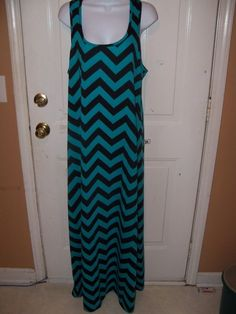Faded Glory Fresh Teal/Black Striped Maxi Dress Size XLarge (16/18) Women's New  #FadedGlory #Maxi #Casual