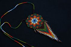 Collar Huichol por BiuluArtisanBoutique en Etsy Mandala, Etsy, Pendant Necklace, Beads, Flowers, Color, Jewelry, Handmade Gifts, Hand Made
