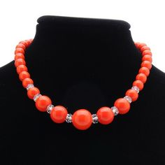 Vintage Orange and Crystal Plastic Bead Choker Necklace