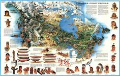 The First Nations of Canada, illustrated map × Canadian Culture, Canadian History, Native American History, American Indians, Indigenous People Of Canada, Indigenous Education, Aboriginal People, First Nations, Social Studies