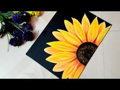 Sunflower Canvas Paintings, Black Canvas Paintings, Flower Painting Canvas, Canvas Painting Tutorials, Painting Flowers Tutorial, Black Painting, Sunflower Colors, Sunflower Art, Small Canvas Art