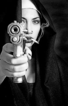 Smoking Nun with gun