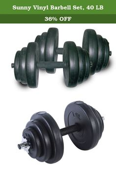 Sunny Vinyl Barbell Set, 40 LB. Compact dumbbell set provides maximum results without large equipment Hollow chromed bars with collars Interchangeable weights provide custom workout Safe and durable vinyl weights Manufacturer's warranty included - see Product Guarantee area for complete details About Sunny Health & Fitness Sunny Health & Fitness has been importing and distributing high-quality health and fitness products for over ten years. From their headquarters in Los Angeles…