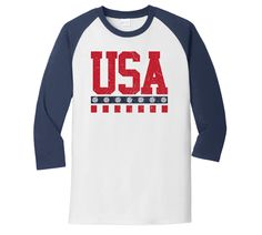 USA Volleyball 3/4 Sleeve T-Shirt (TS18) - #volleyball #teamusa