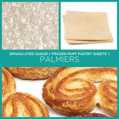 Açúcar granulado + lâminas de massa folhada congelada = Palmiers