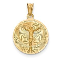 "NEW SOLID 14K YELLOW GOLD CORPUS RELIGIOUS CHARM PENDANT FOR NECKLACE .80""…"
