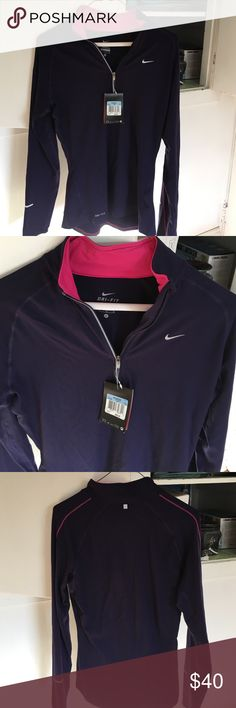 Nike Dri-Fit running shirt Long sleeve, zip at chest. Deep purple color with Fuschia lining at neck. NWT. Never worn. From Macy's size medium women's Nike Tops Sweatshirts & Hoodies