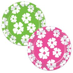 "8 ct  PINK & LIME GREEN HIBISCUS LUAU  9"" Paper Plates Birthday Party Tableware #Beistle"