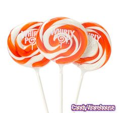 Orange & White Swirl 1.5-Ounce Whirly Pops: 24-Piece Display | CandyWarehouse.com Online Candy Store