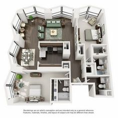 Suite A 2-Bedroom Apartment Floorplan