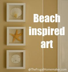 Beach inspired art {Sea Shell art} - The Frugal Homemaker Coastal Decor, Diy Home Decor, Seashell Art, Starfish, Up House, Beach Crafts, Do It Yourself Home, Beach Themes, Strand