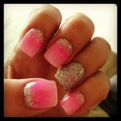 #glitter #heart #nail #design
