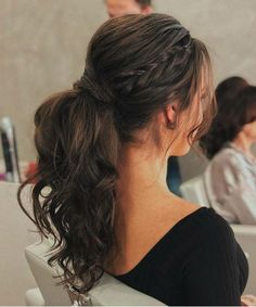 Fresh 15 Luminous Long Pony Hairstyles 2021 for Prom and Evening Parties Indian Hairstyles For Saree, Cute Prom Hairstyles, Saree Hairstyles, Pony Hairstyles, French Braid Hairstyles, Headband Hairstyles, Teenager Hairstyles, Simple Hairstyles, Ponytail Hairstyles With Braids