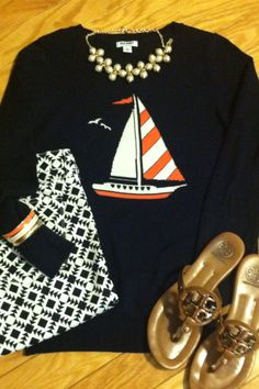 Old navy sweater, Jcrew geometric pants, Tory Burch sandals.