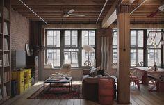 Roomy wood livingroom