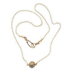 Vintage Swarovski Pave Ball Necklace - Sterling Silver / 14k Gold Fill