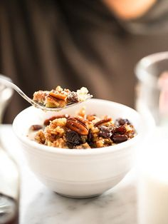 """Yum! // """"Slow Cooker Baked Oatmeal with Bananas and Nuts""""   foodiecrush.com #breakfast"""
