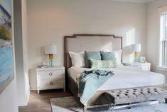 30a interior design, lovelace interiors, coastal bedroom, upholstered bed, white nightstands, velvet bench, blue white bedroom White Bedroom, Velvet Bench, Interior, Blue White Bedroom, White Nightstand, Coastal Bedroom, Interior Design, Bedroom, Upholstered Beds