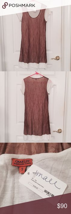 NWT Chan Luu Mesh Overlay Dress NWT awesome Chan Luu white and brown mesh overlay dress! This would be go great with a long gold necklace and some gold strappy sandals! Chan Luu Dresses Mini