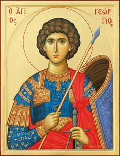 Αγιος Γεωργιος Orthodox Catholic, Byzantine Icons, Archangel Michael, Religious Icons, Art Icon, Saint George, Orthodox Icons, St Michael, Christian Art