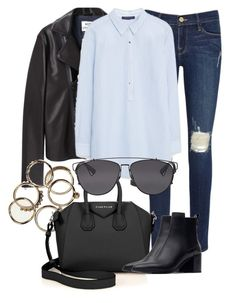 """""""Untitled #2131"""" by rosyfilm ❤ liked on Polyvore featuring Frame Denim, Acne Studios, MANGO, Givenchy, Zara and Christian Dior"""