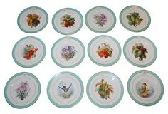 French Hand-Painted Luncheon Plates
