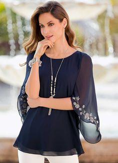 Kaleidoscope Ivory and Black Lace Bell Sleeve Chiffon Top UK Size 12
