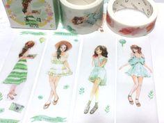 summer girl green tones washi tape 5M x 3cm lovely girl teen girl pretty Japanese comic girl wide masking tape girl diary planner sticker by TapesKingdom on Etsy https://www.etsy.com/listing/510810277/summer-girl-green-tones-washi-tape-5m-x