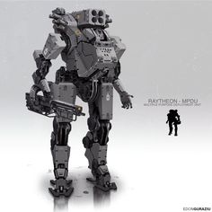 ArtStation - MPDU Mech Design, Edon Guraziu - This concept would make a good starting point for exploring how a bipedal combat drone might look. For example something like this might fit a heavy support role.