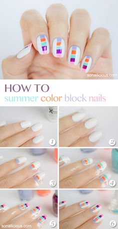 Color block nails have become a classic nail art style Gorgeous Nails, Love Nails, Pretty Nails, Nail Art Designs, Nail Design, Nails Yellow, Pastel Nails, White Nails, Nails Decoradas