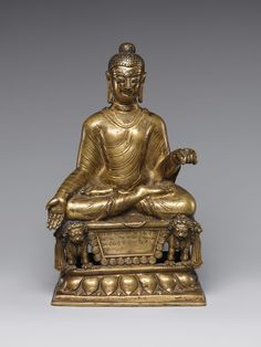 Enthroned Buddha, ca. 600 Northern Pakistan (Gilgit Kingdom) Gilt brass inlaid with silver and copper; Buddha Life, Buddha Buddhism, Buddhist Temple, Buddhist Art, Sculpture Art, Sculptures, Southeast Asian Arts, Oriental, Tibetan Art