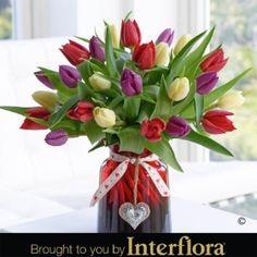 Valentines Mixed Tulip Vase