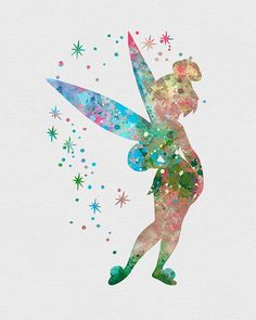 Tinker Bell Watercolor Art... They have a ton of Disney characters!! Super cool: