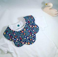 Baby Girls Scallop Fashion bib Flowers in blue by CraftyTot