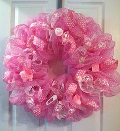 Items similar to Baby Girl Wreath/ Deco Mesh Wreath/ Baby Shower Mesh Wreath/ Hospital Door Mesh Wreath/ Baby Shower Deco Mesh Wreath/ Girl Mesh Wreath on Etsy Letter Door Wreaths, Baby Door Wreaths, Baby Boy Wreath, Wreath Crafts, Diy Wreath, Burlap Wreath, Wreath Ideas, Burlap Ribbon, Baby Kranz