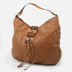 T-Shirt And Jeans Fringe Hobo with Beads in Brown www.maraisdesigns.com  $28.00
