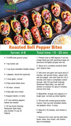 Roasted Bell Pepper Bites Fresh Cravings is part of Low carb recipes - Serve as an appetizer or make a meal out of these delicious baby peppers loaded with ground turkey, cheese, sour cream, and salsa Beef Steak Recipes, Beef Recipes For Dinner, Easy Chicken Recipes, Mexican Food Recipes, Dinner Crockpot, Recipe Chicken, Healthy Chicken, Chicken Meals, Chicken Salad