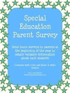 Special Education Parent Survey--printables for educators to use in the classroom.