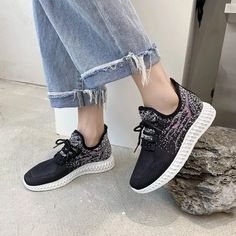 Women Sneakers Spring Flat Shoes Casual Women Vulcanized 2021 Summer Light Mesh Breathable Female Running Shoes Zapatillas Mujer Sneaker Outfits Women, Sneaker Brands, Types Of Shoes, Flat Shoes, Casual Shoes, Running Shoes, Mesh, Lace Up, Flats