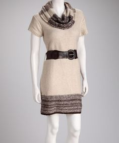 Take a look at this Sand Belted Sweater Dress by Blow-Out on @zulily today!
