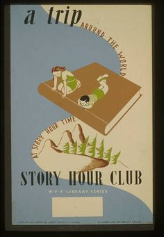 Poster promoting a statewide library project in Illinois, produced in the late 1930s.