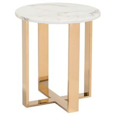 Modern Atlas Faux Marble Round End Table - Stone, Gold - Zuo : Target