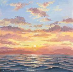 Original Seascape Painting by Nina Jayasinghe | Impressionism Art on Canvas | Calm water
