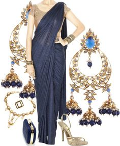 Midnight blue shimmer saree, pre-stitched, with antique gold blouse, jhumka earrings, gold stilettos, armlet, cuff, ring and bracelet - Styled by Kieu.