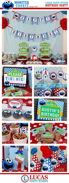 Cookie Monster Sesame Street Inspired Birthday Party - DIY PRINTABLE Personalized Package FULL Collection - H1a