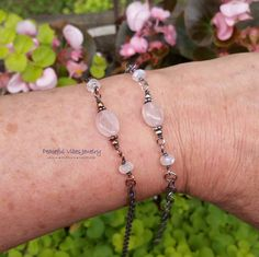Rainbow Moonstone Rose Quartz Anklet Wire Wrapped Oxidized Sterling SIlver Or Copper Boho Hippie One Of A Kind Artisan Jewelry by PeacefulVibesJewelry on Etsy