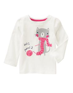 Knitting Kitty Sparkle Long Sleeve Tee at Gymboree (Gymboree 3m-5T)