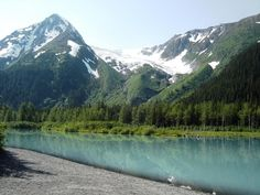 I took this while hiking South of Anchorage Alaska. The coloration of the water is from the Glacial run off.