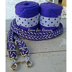 """Purple Polka Dot"" Riding Set with Polos & Matching Adjustable Riding Reins"