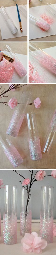 DIY Glittery Pink Vase for Holiday Season. This vase can also be used as a decor for wedding celebration and birthday parties. | DIY Holiday Decor Ideas with Tutorials